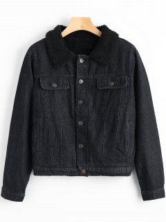 Tiger Embroidery Thicken Denim Jacket - Black S