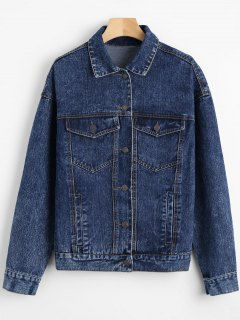 Drop Shoulder Denim Jacket With Pockets - Deep Blue L