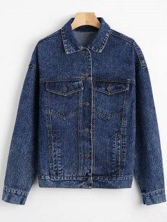 Drop Shoulder Denim Jacket With Pockets - Deep Blue S