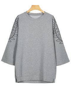 Leaf Embroidered Tunic Sweatshirt - Gray 2xl