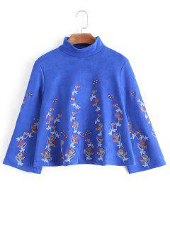 Faux Suede Embroidered Sweatshirt - Blue S