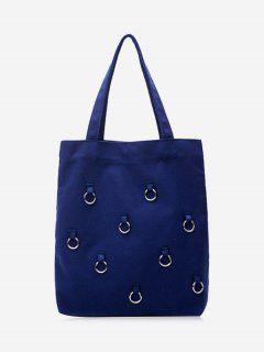Canvas Metal Ring Shoulder Bag - Deep Blue