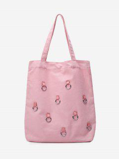 Canvas Metal Ring Shoulder Bag - Pink