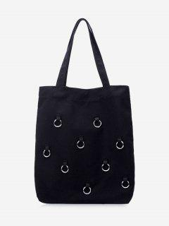 Canvas Metal Ring Shoulder Bag - Black