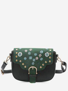 Rivets Flower Embroidery Buckle Strap Crossbody Bag - Green