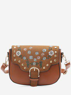 Rivets Flower Embroidery Buckle Strap Crossbody Bag - Brown