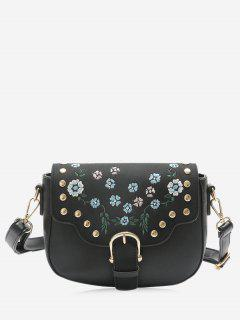Rivets Flower Embroidery Buckle Strap Crossbody Bag - Black