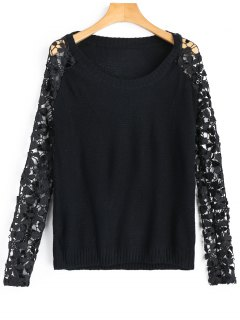 Lace Sleeve Crew Neck Sweater - Black L