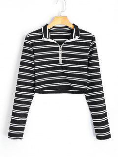 High Neck Half Zip Striped Knitted Top - Stripe L
