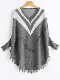 V Neck Dolman Sleeve Sweater With Tassels - Gray