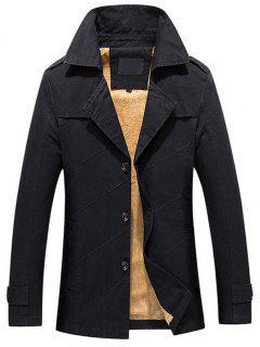 Button Up Fleece Mens Coat - Black 4xl