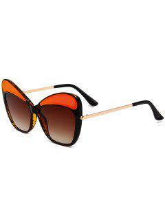 Anti UV Metal Frame Cat Eye Sunglasses - Tea-colored