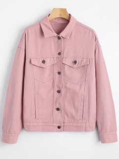 Button Up Drop Shoulder Shirt Jacket - Pink S