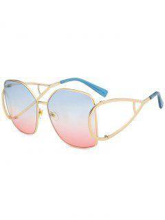 UV Protection Hollow Out Embellished Oversized Sunglasses - Azure