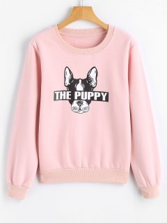 Cute Puppy Cartoon Sweatshirt - Pink 2xl