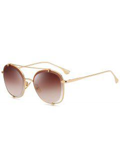 Metal Frame Crossbar Embellished Polit Sunglasses - Gold Frame+dark Brown Lens