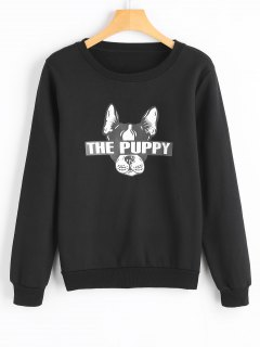 Cute Puppy Cartoon Sweatshirt - Black M