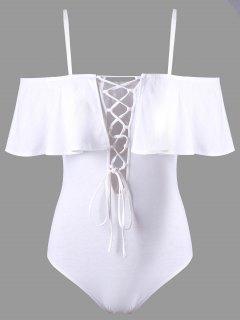Cut Out Overlay Schnür-Bodysuit - Weiß Xl
