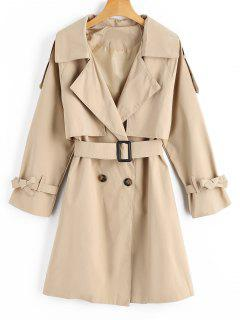Belted Bowknot Button Up Trench Coat - Light Khaki M
