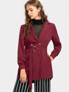Notch Collar Belted Double Breasted Trench Coat - Wine Red