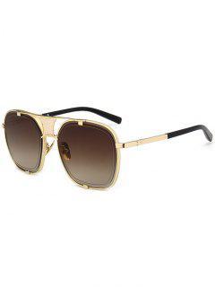 Metal Frame Hollow Out Embellished Sunglasses - Gold Frame+dark Brown Lens