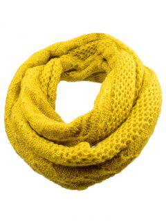 Outdoor Rhombus Pattern Chunky Knitted Scarf - Yellow