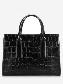 PU Leather Crocodile Print Tote Bag - Black