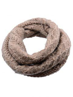 Outdoor Rhombus Pattern Chunky Knitted Scarf - Brown