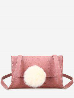 Pompom Embossing Crossbody Bag - Pink