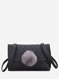 Pompom Embossing Crossbody Bag - Black