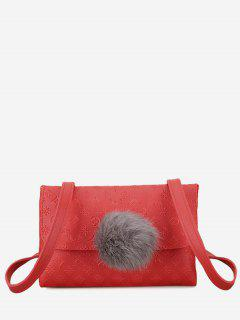 Pompom Embossing Crossbody Bag - Red