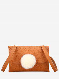 Pompom Embossing Crossbody Bag - Brown