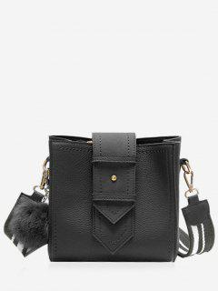 Stitching Buckle Strap Pompom Crossbody Bag - Black