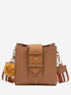 Stitching Buckle Strap Pompom Crossbody Bag - Brown