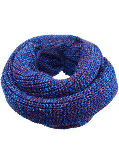 Soft Color Splice Crochet Knitted Scarf - Denim Blue
