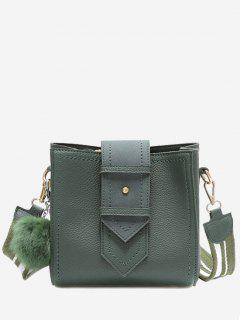 Stitching Buckle Strap Pompom Crossbody Bag - Green