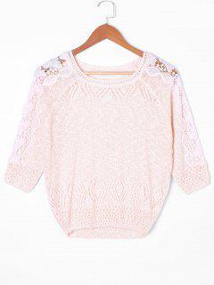 Suéter Calado Alto Bajo Con Mangas - Rosado Claro