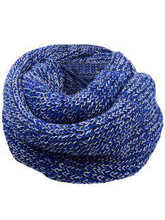 Bufanda Tejida Con Punto De Ganchillo De Color Suave - Azul Y Blanco