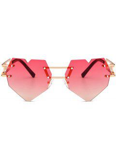 Outdoor Love Heart Embellished Rimless Sunglasses - Red