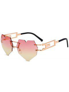 Outdoor Love Heart Embellished Rimless Sunglasses - Yellow And Red