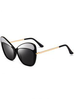 Anti UV Metal Frame Cat Eye Sunglasses - Black And Grey