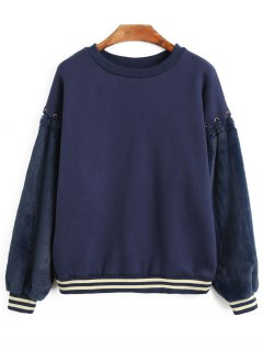 Bow Tied Fur Panel Striped Sweatshirt - Deep Blue S
