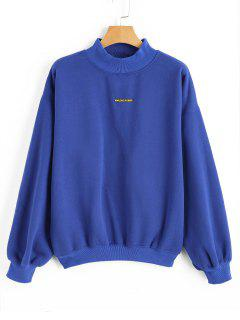 Mock Neck Oversized Letter Sweatshirt - Blue