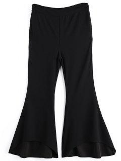 Side Zip High Low Hem Bell Bottom Pants - Black M