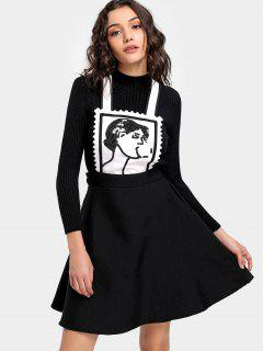 Sequined Pinafore Dress - Black S