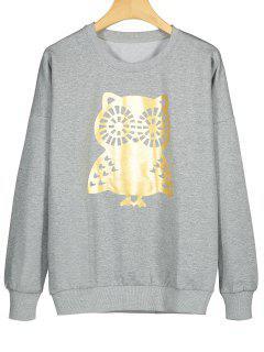 Owl Print Crew Neck Sweatshirt - Gray M