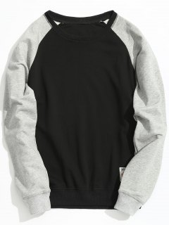 Pullover Two Tone Sweatshirt - Black 4xl