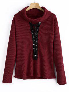 Jersey De Cuello Alto Con Cordones Sweater - Vino Rojo S