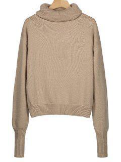 Ribbed Trim Turtleneck Sweater - Khaki