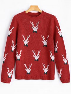 Reindeer Graphic Christmas Sweater - Red